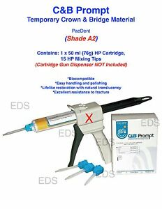 Shade A2 C b Prompt Temporary Crown And Bridge Material Hp Cartridge 15 Tips