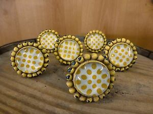 6 Yellow Sunflower Glass Drawer Cabinet Pulls Knobs Vintage Chic Child Hardware