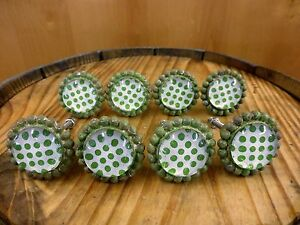 8 Green Sun Flower Glass Drawer Cabinet Pulls Knobs Vintage Chic Garden Hardware