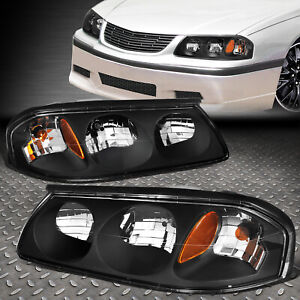 For 2000 2005 Chevy Impala Pair Black Housing Amber Turn Signal Headlight Lamp