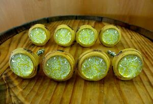 8 Yellow White Lace Glass Drawer Cabinet Pulls Knobs Vintage Distressed Hardware
