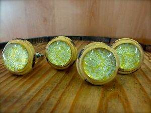 4 Yellow White Lace Glass Drawer Cabinet Pulls Knobs Vintage Distressed Hardware