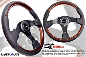 Nrg Black Leather Steering Wheel Wood Grain Accents W Black 3 Spokes 350mm