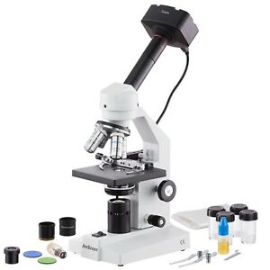 Amscope 40x 2000x Monocular Compound Vet Lab Microscope 1 3mp Usb Camera