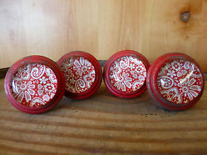 4 Red White Lace Glass Drawer Cabinet Pulls Knobs Vintage Restoration Hardware