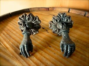 1 Pair Black Hanging Hands Antique Style Cabinet Pull Handle Knob Vintage Chic