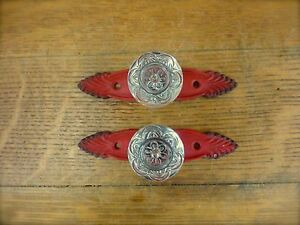 2 Red Antique Style French Pulls Clear Knobs Drawer Cabinet Handle Vintage Chic