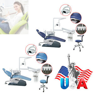 Computer Controlled Dental Unit Chair Hard Leather W stool Auto water Hve Light
