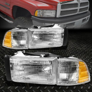 For 94 02 Dodge Ram 1500 2500 Chrome Housing Amber Corner Headlight Head Lamps