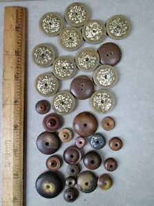 33 Vintage Whistle Buttons Vegetable Ivory Wood Hard Rubber Plastic