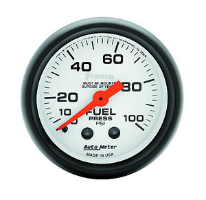Auto Meter 5712 Phantom Mechanical 100 Psi Fuel Pressure Gauge 2 1 16 In 52mm