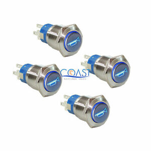 4x Durable 12v Led 19mm Momentary Blue Car Horn Push Button Toggle Light Switch