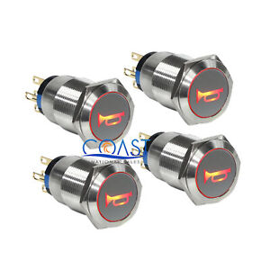 4x Durable 12v Led 19mm Momentary Red Car Horn Push Button Toggle Light Switch