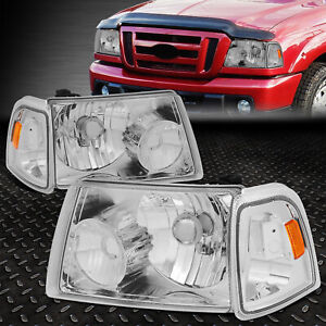 For 2001 2011 Ford Ranger Chrome Housing Amber Corner Bumper Headlight lamp Set