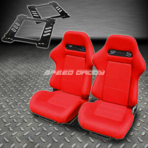 Pair Type R Red Cloth Reclining Racing Seat Bracket For 92 99 Bmw E36 2 Dr