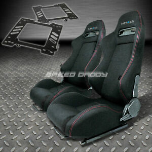 Pair Nrg Type r Style Black Cloth Racing Seat bracket For 99 04 Mustang Sn 95