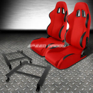 Red Cloth Black Reclinable Racing Seats Low Mount Bracket For 97 04 Corvette C5