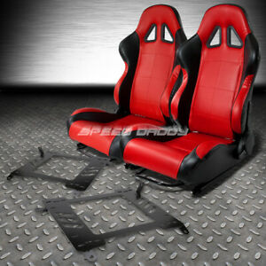 2 X Red Black Pvc Leather Racing Seats Bracket For 00 05 Toyota Celica T230 231