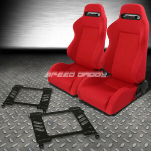 Pair Type R Red Reclinable Racing Seats Bracket For 94 01 Acura Integra Db Dc1 2
