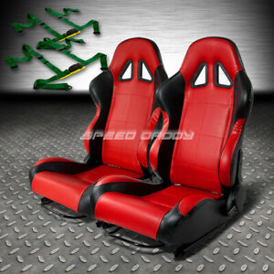 2 X Red black Pvc Leather Racing Seats universal Slider 4pt Harness Green Belts