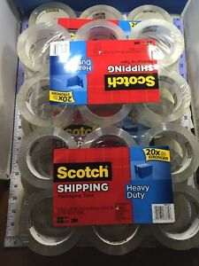 New 24 Rolls Scotch Heavy Duty Shipping Tape Packaging Carton Sealing 3 Core
