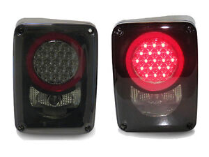 Depo No Error Led Black Smoke Rear Tail Lights For 2007 2015 Jeep Wrangler Jk