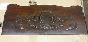Victorian Carved Shell Floral Design Walnut Panel Salvage C3