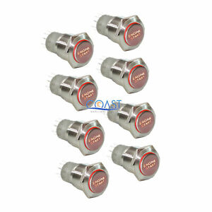 8x Durable 12v Red Led 16mm Momentary Engine Start Push Button Toggle Switch