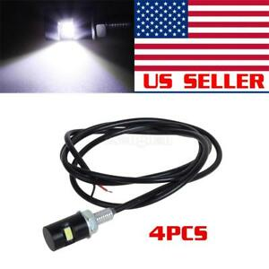 4pcs White Universal Led License Plate Lights Car Motorcycle Smd Bolt On Screw