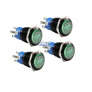 4x Durable 12v Green Led 19mm Black Momentary Engine Start Push Button Switch