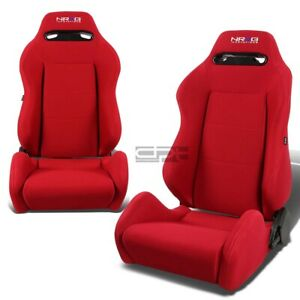 Nrg Full Reclinable Driver passenger Type r Red Canvas cloth Bucket Racing Seats