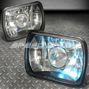 7x6 Square Black Projector Headlights H4 Bulbs Blue Dot Lamps Fits Ford Chevy