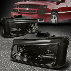 For 03 06 Chevy Silverado Avalanche Smoked Housing Clear Corner Headlight Lamps