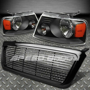 For 04 08 Ford F150 Black Front Grill Cover head Lights Amber Reflector Lens