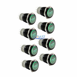 8x Durable 12v Green Led 16mm Black Momentary Engine Start Push Button Switch