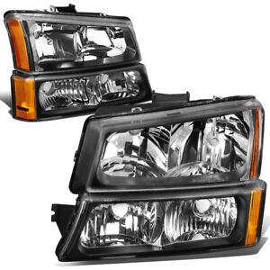 For 2003 2006 Chevy Silverado Black Housing Amber Corner Headlight Bumper Lamps