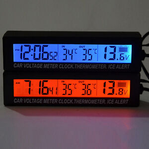 3in1 Digital Lcd Clock In Out Car Auto Thermometer Battery Voltage Meter Monitor