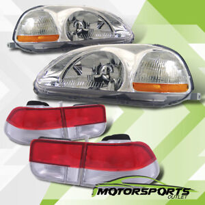 For 1996 1998 Honda Civic 2dr Chrome Headlights Red Clear Tail Lights Combo