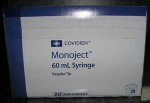 20 Monoject 60cc 60ml Syringes With Regular Tip Sterile Hard Case No Needles