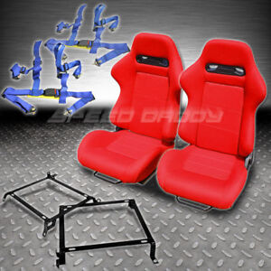 2 T R Red Stitches Racing Seatss Bracket 4 Pt Blue Seat Belts Civic Integra Dc2