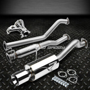 4 Rolled Muffler Tip Racing Catback header Manifold Exhaust For Rsx Dc5 Base l
