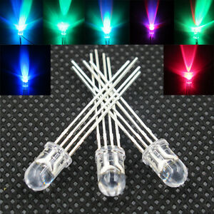 1000pcs Lots 5mm Rgb 4pin Tri color Led Waterclear Common Anode Led Beads