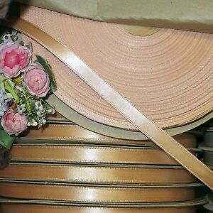 50y Spool Vtg 3 8 Peach Satin Ribbon Doll Dress Hat Trim Bow Ribbonwork Flwr