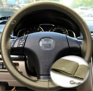 Zone Tech Steering Wheel Cover With Needles Thread Diy Beige Leather Sew On
