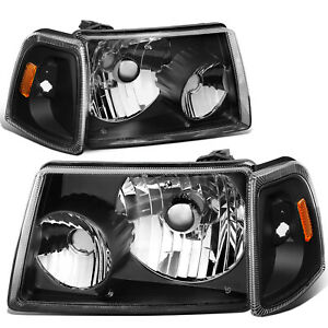 Fit 2001 2011 Ford Ranger Black Housing Amber Corner Bumper Headlight lamp Set