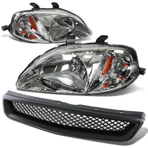 For 99 00 Honda Civic Black Front Grill Chrome Housing Headlight Amber Reflector