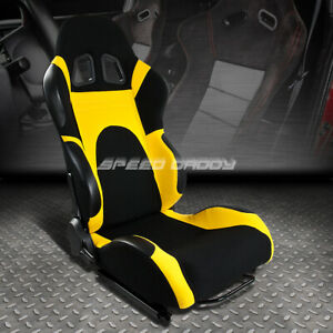 Fully Reclinable Yellow black Bucket Racing Seat slider Rail Set Passenger Side