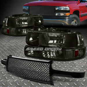 Smoke Housing Headlight bumper Signal Light mesh Grill Guard For 99 02 Silverado