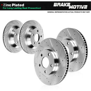Front rear Drilled Slotted Brake Rotors For 2007 2015 2016 2017 Jeep Wrangler