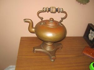 Antique Vintage Copper Tea Coffee Kettle Pot With Burner And Stand Arts